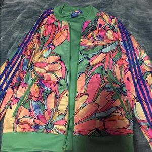 Adidas Mulit-Color Floral Zip Up  Track Jacket
